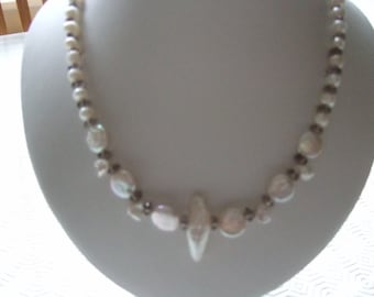 "White Freshwater Cultured Pearl Coins, Small Potato Pearl, Biwa Pearl and Smokey Quartz 18"" Necklace with Silver Plated Fancy Toggle Clasp"