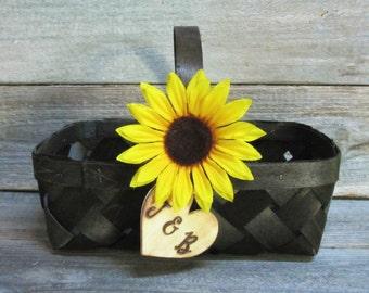 Flower girl basket, wedding basket, flower basket, flower girl, rustic basket, rustic flower basket, wicker basket, sunflower wedding decor