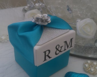 Personalised  white / silver/ blue  wedding favour box chocolate filled and ready assembled