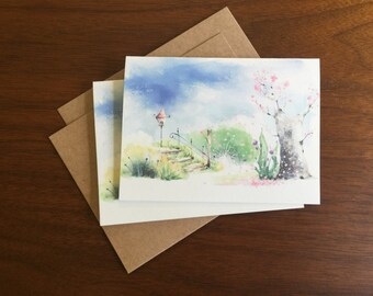 Watercolor Tree Notecard Greeting Card Blank Note Card Bulk Cards Holiday Card Notecard Set Stationary Multi Language Gift Card Logo Free