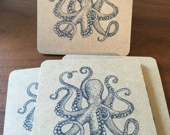 Octopus Coasters 6 Pack - handmade, hand stamped, zoo animal, tentacle, sea life, party favors, gifts, rustic, flat rate shipping