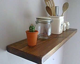 Kitchen Floating Wall Shelf / Shelves - Royal Oak Natural Wax - ** FREE UK DELIVERY **