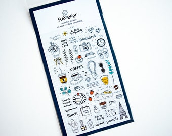 Daily Doodle Planner Diary Stickers Kawaii Coffee Camera