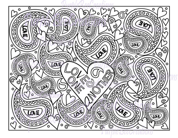 Items Similar To Adult Coloring Page Love One Another Bible Verse Valentine On Etsy