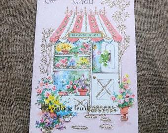 Vintage Flower Shop Get Well Card