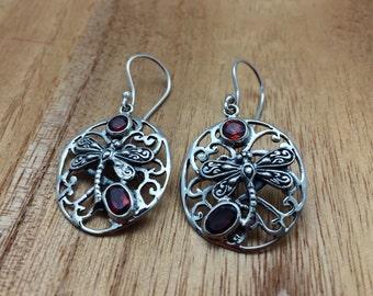Dragonfly Garnet Silver Earrings // 925 Sterling Silver // Bali Design // Hypoallergenic // Hook Backing