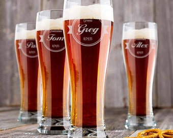 Personalized Wedding Glass, Personalized Beer Pilsner, Engraved Beer Glass, Groomsmen Glasses, Best Man, Wedding Glasses