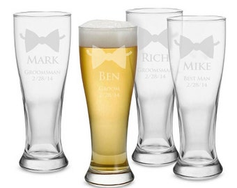 Set of 6 Pilsner Glasses - Groom and Best Man/Groomsmen, Personalized Beer Pilsner, Groomsmen Gift, Engraved Wedding Glasses
