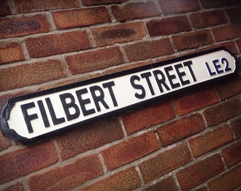 Filbert Street Vintage Leicester City Street Sign Football Ground Road Sign