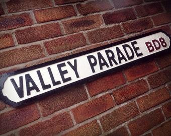 Valley Parade Vintage Bradford City Street Sign Football Ground Road Sign