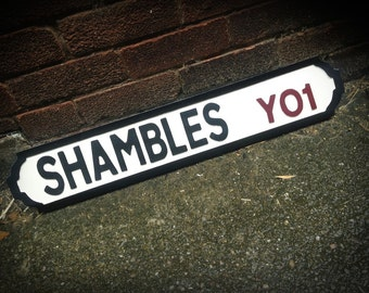 The Shambles Vintage Shabby Chic York Street Sign Road Sign