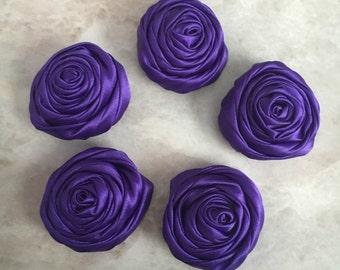 2 inch purple rosette, purple satin flowers, headband supplies, roses, headband flowers, wedding flowers, silk flowers, rolled flowers, tan