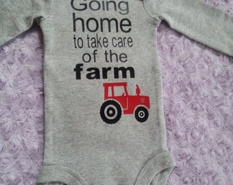 Baby boy coming home outfit. Baby tractor. Baby farm. Baby boy. Bringing home baby outfit.