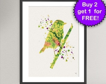 BIRD Nº1 Watercolor Art Print - Canary Bird Art Print Wall Art Poster Wall Decor Art Home