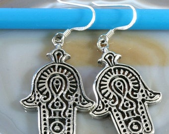 Hand of Fatima, earrings 925 sterling silver   --  3560