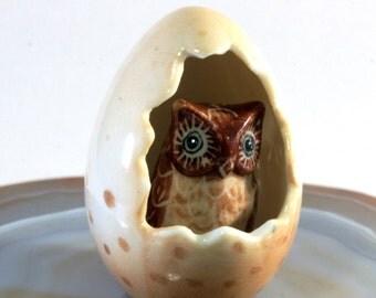 Owl in the egg- handpainted porcelain figurine 2828