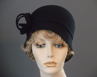 Black felt cloche,  1920's, 1930's, vintage style hat, womens cloche, hand blocked, felt swirl, tea, luncheon, church, wedding,