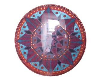 Mandala hand painted in domed round crystal flower charm