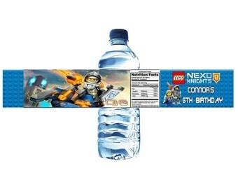 Lego Nexo Knights Personalized Birthday Water Bottle Label Set of 5 (Printable) (DIY)