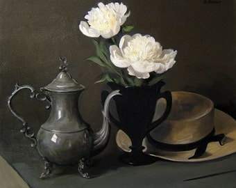 Peonies, Silver Coffeepot and Amish Straw Hat, Oil on Canvas, 20x24 in., Unframed.