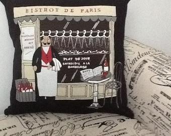 """Paris Cafe Pillow Cover - 14"""" x 14"""" - Travel Gift Paris France"""