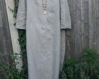 Eco  rustic look lagenlook  long linen dress size 16-18