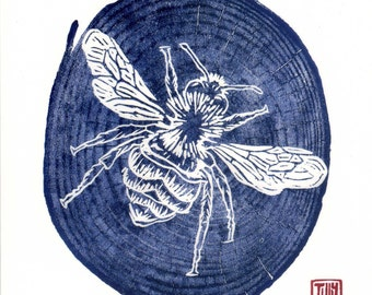 Bee card, woodcut print, woodblock, printmaking