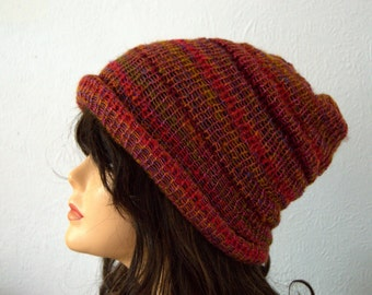 Handmade Hand Knitted Mixed Reds, Browns and Golds Soft Slouchy Hat - Autumn Colours