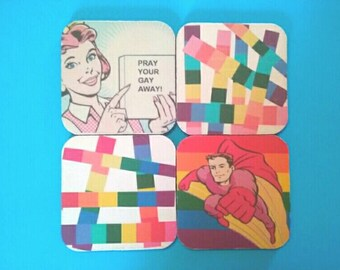 Set Of Four Gay Pride/Rainbow Coasters, Drink Coasters, Rubber Coasters, Gay/Lesbian, Rainbow Coasters, Made By Mod.