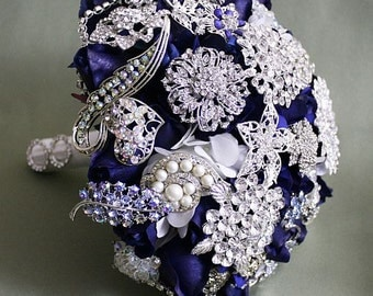 Blue/navy/deep, silver, white, brooch, Bouquet, Real Touch flowers, silk, wedding, flowers, hydrangea, roses, crystal, rhinestones, bling