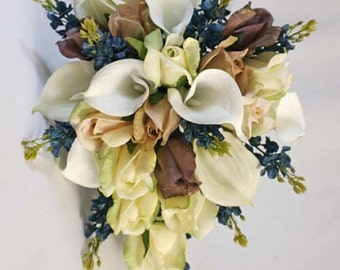 Ivory, blush, taupe, mocha, navy blue, cascade bouquet, Real Touch flowers, Bride, Groom silk wedding set, calla lily, rose, lupines