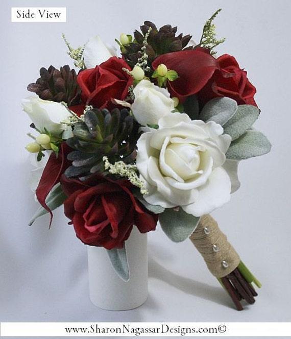 Brown Wedding Flowers: Red Burgundy White Sage Green Grey Brown Rose