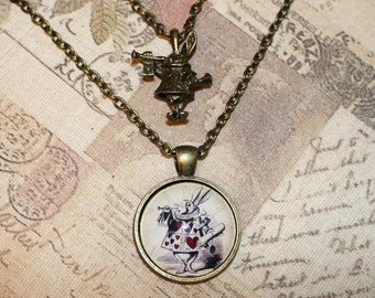Alice In Wonderland bronze layered/multi-strand necklace with White Rabbit pendants