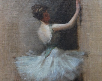 Ballet dancer original painting by Albert Ludovici Junior (1852-1932)