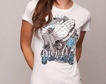 Shirt Drop Dead Shirt Rockabilly Psychobilly Hands white
