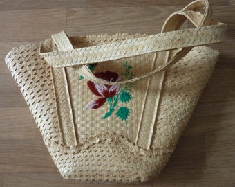 Straw Bag beach bag Shopper Ibiza Style Satchel vintage 70s Hippie Coachella