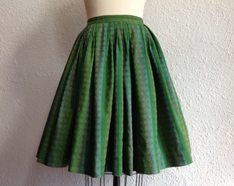 1950s Green striped cotton skirt