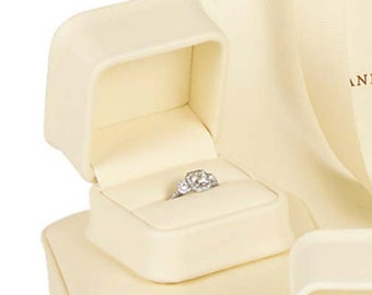Soft Cream Leatherette Engagement Ring Presentation Gift Box with 2-piece White Outer Box
