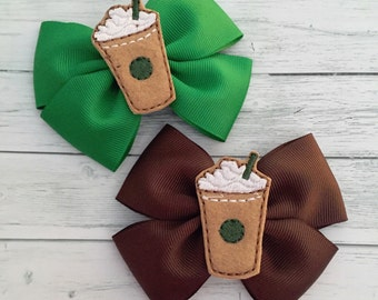 Starbucks Frappuccino Brown or Green Hair Bow