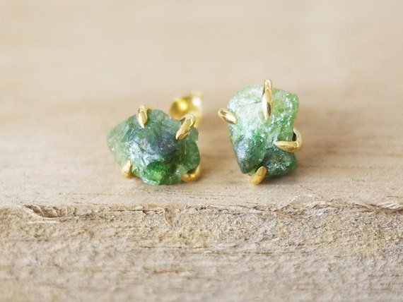 Raw Emerald Stud Earring Rough Emerald Stud Earrings Raw