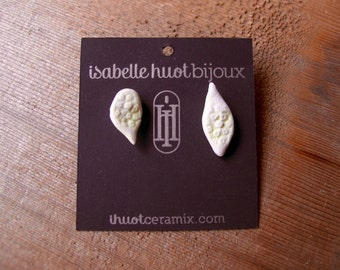 Ceramic porcelain bud earrings with gold hand made in montreal quebec