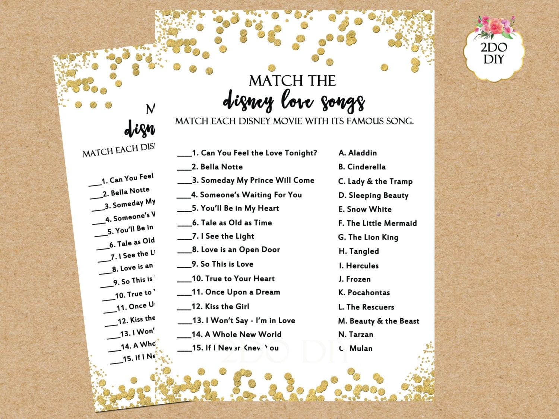 Bridal Shower Games Disney Love Song Match Disney Bridal Shower Games Gold Glitter