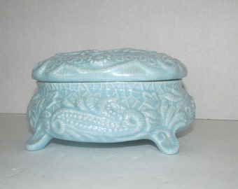 Vintage Light Blue Ceramic Jewelry Box / Trinket / storage