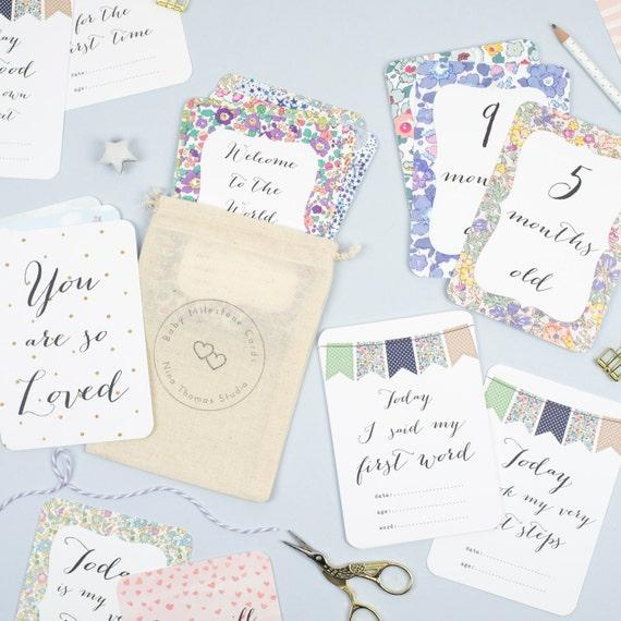 Baby Gift Cards Uk : Baby milestone cards shower gift keepsake