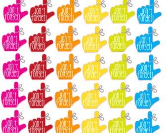 Don't Forget Planner Stickers 30 piece set , Journals , Calendar , hand , finger , reminder , Rainbow