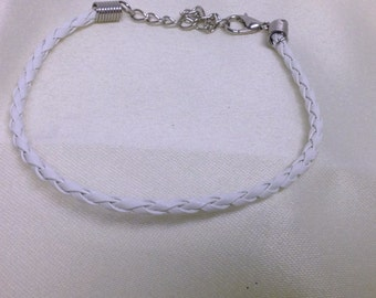 White Leather Braided Bracelet , men , women, teens, simple , clean, wrist, gift