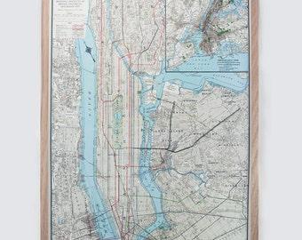 New York New York - Manhattan Vintage Map Pinboard, gorgeous oak frame, home decor, wall art, great gift idea
