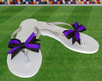 Purple + Black Bow Jelly Sandals