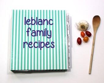 personalized recipe binder - recipe book, recipe organizer, make your own cookbook