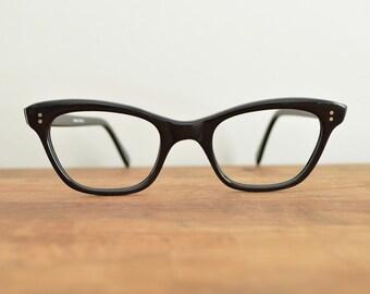 Cat Eye Glasses Frames, Womens Prescription Eyeglasses, 50s Cateye Frame,  Small Vintage Glasses, 60s Wayfarers, Black Horn Rim Glasses, VLV
